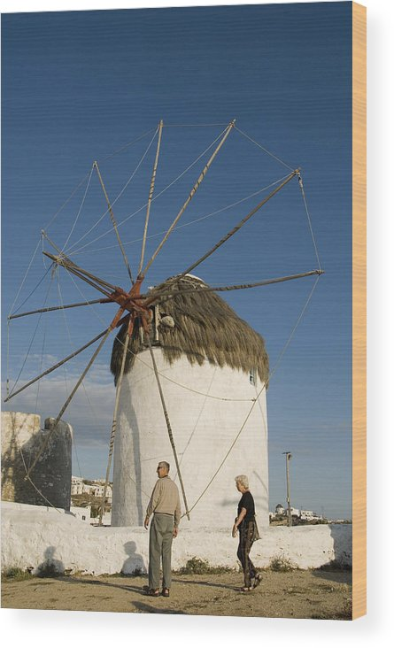 Mykonos Wood Print featuring the photograph Mykonos Icon Windmill by Charles Ridgway