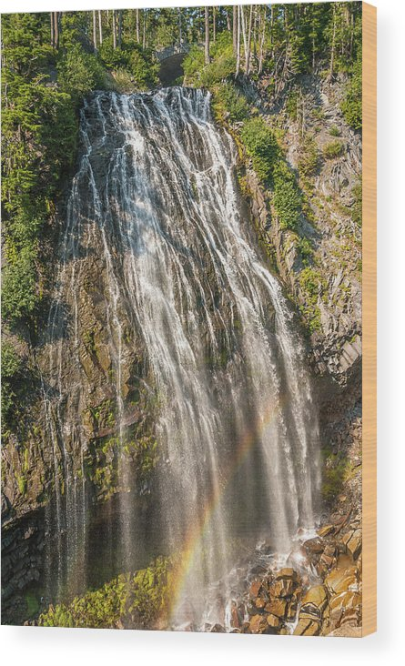 America Wood Print featuring the photograph Narada Falls Rainbow by Marv Vandehey
