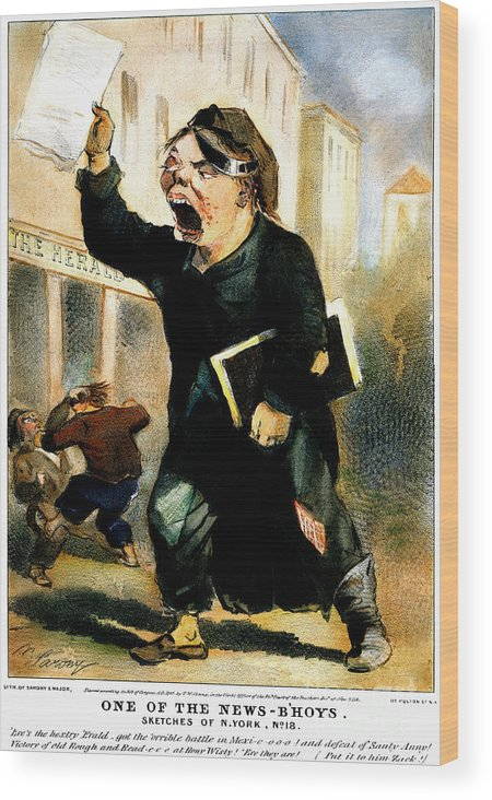 1847 Wood Print featuring the photograph Newsboy Shouting, 1847 by Granger