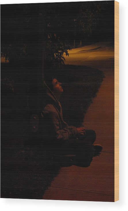 Night Wood Print featuring the photograph Night Boy by Cindy Johnston