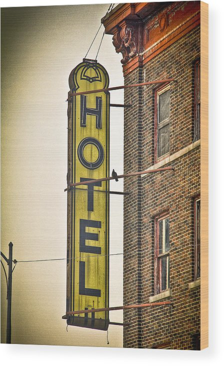 Hotel Wood Print featuring the photograph Old Detroit Hotel Sign by Scott Bert