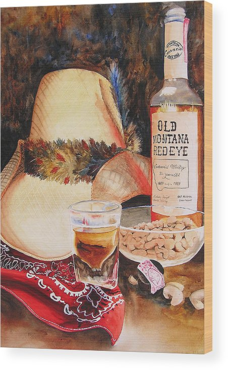 Whiskey Wood Print featuring the painting Old Montana Red Eye by Karen Stark