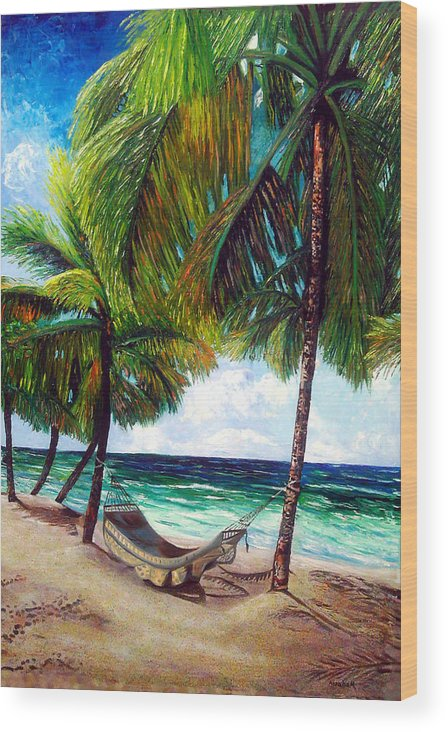 Beach Wood Print featuring the painting On The Beach by Jose Manuel Abraham