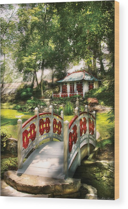Savad Wood Print featuring the photograph Orient - Bridge - The Bridge To The Temple by Mike Savad
