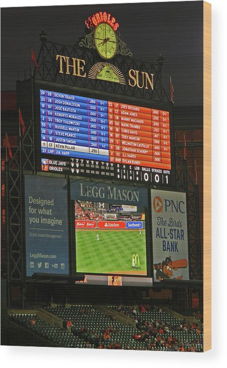 Orioles Game At Camden Yards Wood Print featuring the photograph Orioles Game At Camden Yards by Emmy Vickers
