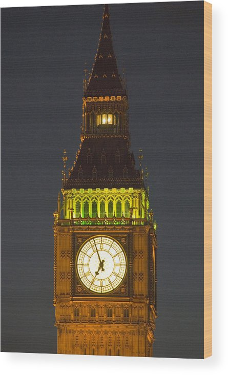 Parlkiament Wood Print featuring the photograph Parliament Tower At Night by Charles Ridgway