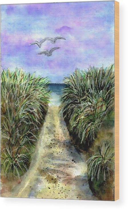 Beach Wood Print featuring the painting Pathway To The Shore by Dina Sierra