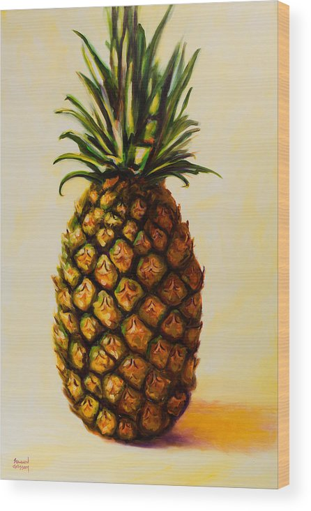 Pineapple Wood Print featuring the painting Pineapple Angel by Shannon Grissom