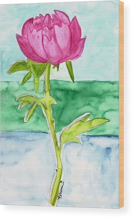 Pink Wood Print featuring the painting Pink Peony by Monica Martin
