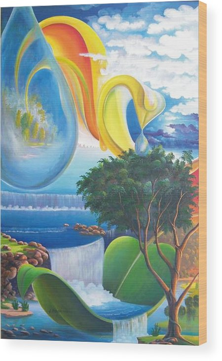 Surrealism - Landscape Wood Print featuring the painting Planet Water - Leomariano by Leomariano artist BRASIL