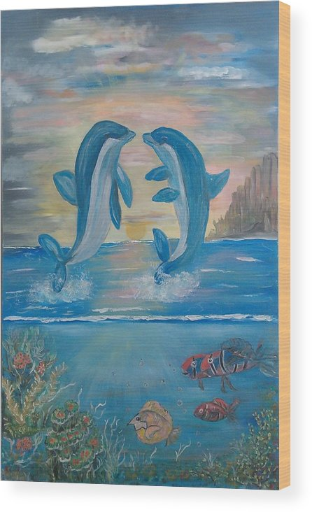 Original Wood Print featuring the painting Playful Dolphins by Mikki Alhart