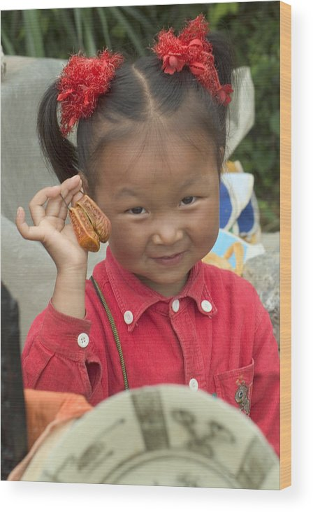 Chinese Girl Wood Print featuring the photograph Please Buy My Shoes by Charles Ridgway