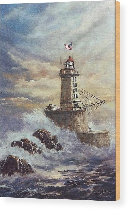 Lighthouse Wood Print featuring the painting Point St. George Reef Lighthouse by Lynne Parker