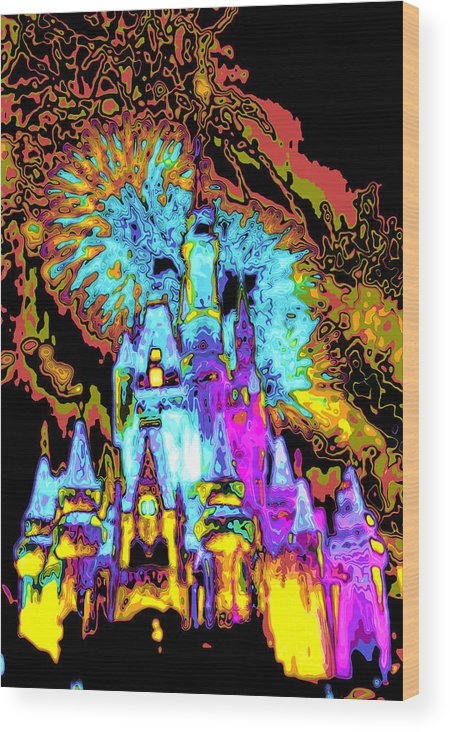 Cincerella Caste. Wood Print featuring the digital art Popart Castle by Charles Ridgway