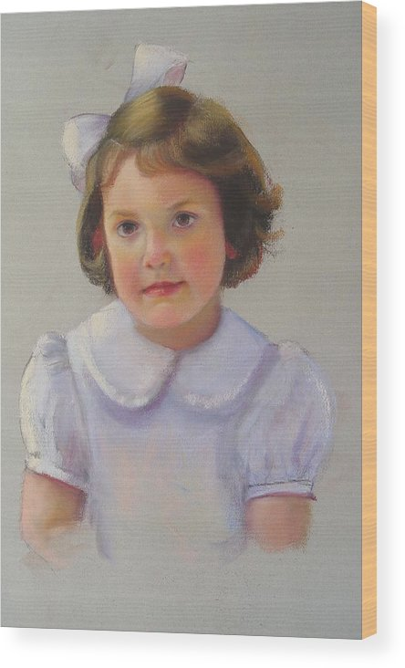 Portrait Of Girl Wood Print featuring the painting Portrait Of Polly by Melanie Miller Longshore