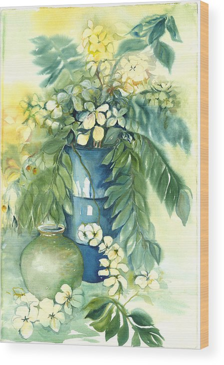 Very Loose Still Life Of Vase And Flowers Wood Print featuring the painting Queen Emma In Blue Vase by Ileana Carreno