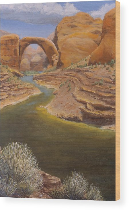 Rainbow Bridge Wood Print featuring the painting Rainbow Bridge by Jerry McElroy