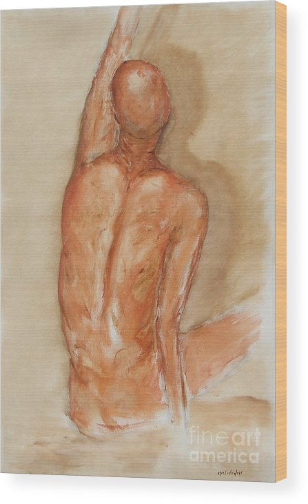 Figure Wood Print featuring the painting Reach Higher by Miroslaw Chelchowski