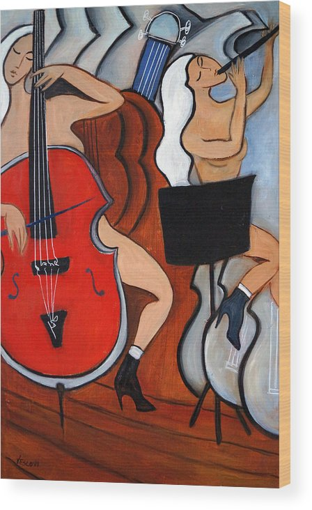 Cubic Abstract Wood Print featuring the painting Red Cello 2 by Valerie Vescovi