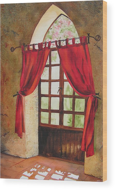 Curtain Wood Print featuring the painting Red Curtain by Karen Stark