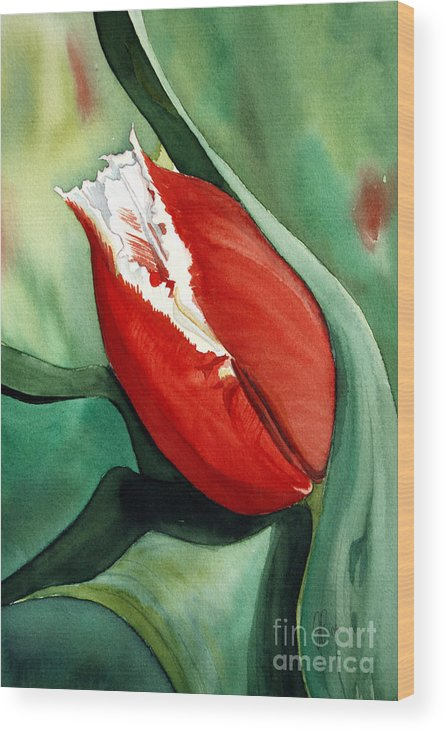 Flower Wood Print featuring the painting Red Tulip by Julie Pflanzer