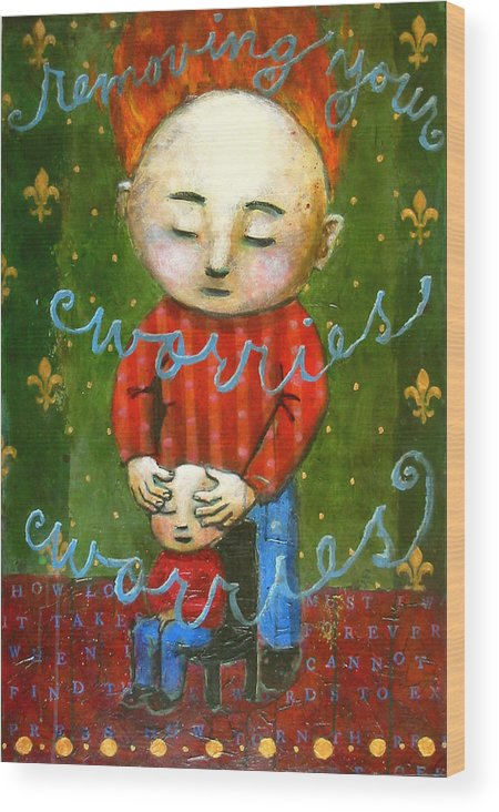 Text Wood Print featuring the painting Removing Your Worries by Pauline Lim