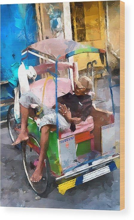 Rickshaw Wood Print featuring the photograph Rickshaw by Gareth Davies