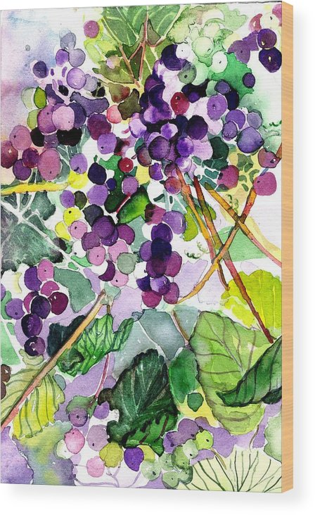 Wine Wood Print featuring the painting Roman Grapes by Mindy Newman