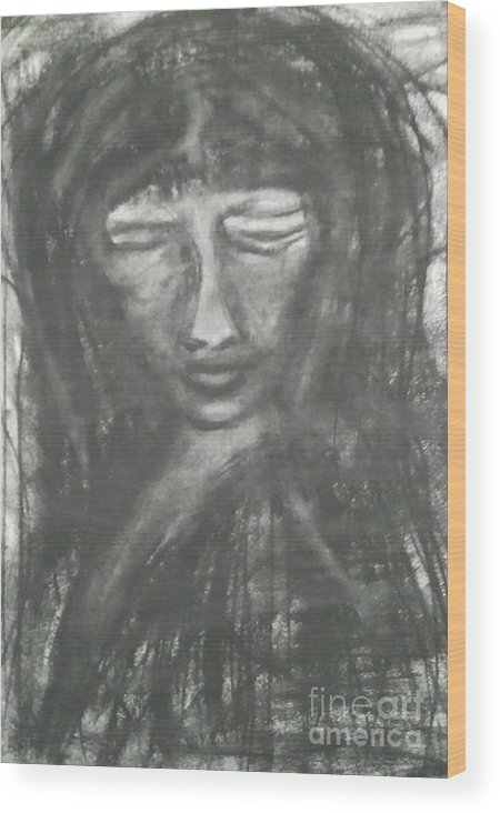 Illustration Charcoal Drawings Sketches Painting Black And White  Wood Print featuring the drawing Savia by Li Narboni