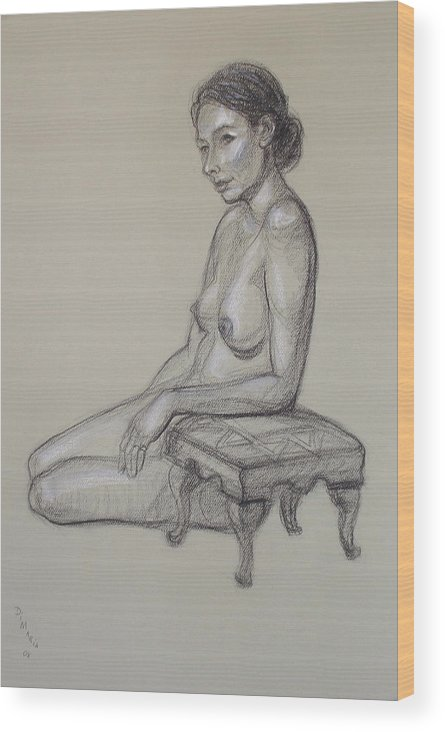 Realism Wood Print featuring the drawing Seated Nude 3 by Donelli DiMaria