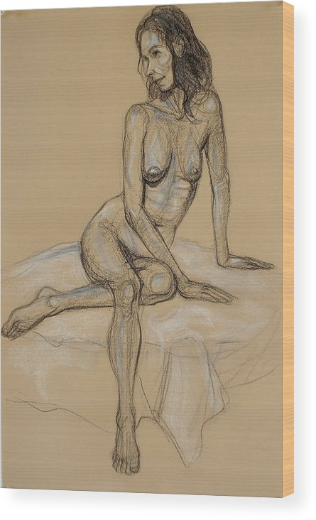 Realism Wood Print featuring the drawing Seated Nude 4 by Donelli DiMaria