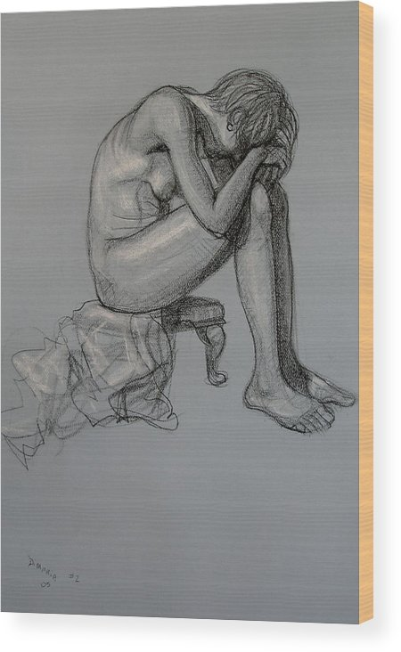 Realism Wood Print featuring the drawing Seated Nude by Donelli DiMaria