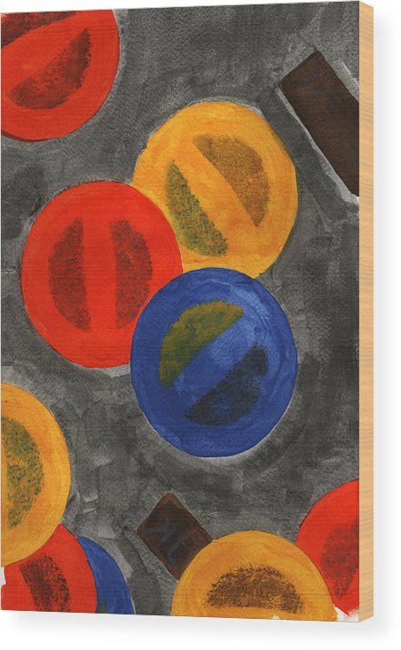 Abstract Wood Print featuring the painting Segments 2 by David Townsend