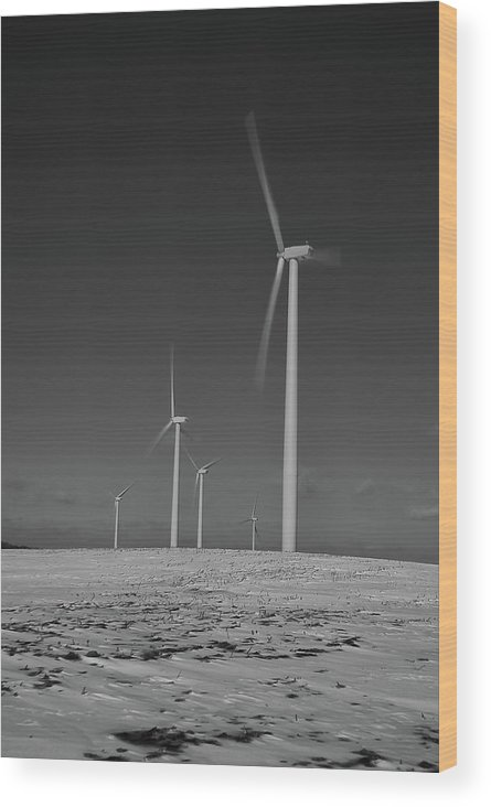 Wind Wood Print featuring the photograph Sheldon Wind Farm 14955 by Guy Whiteley