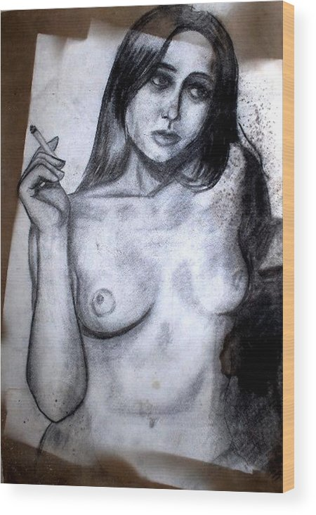 Nude Wood Print featuring the drawing Smoker by Thomas Valentine