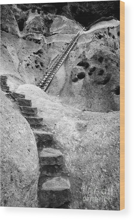 B&w Wood Print featuring the photograph Stairways To The Kiva by Sandra Bronstein