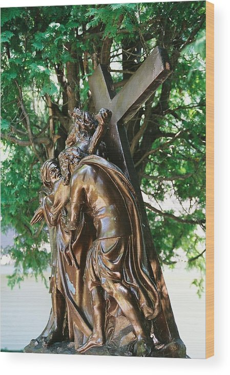 Religious Statue Wood Print featuring the photograph Station Of The Cross by Cheryl Vatcher-Martin