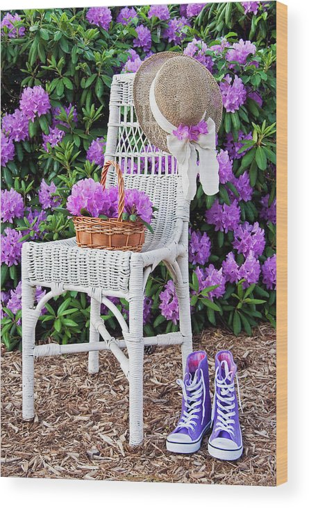Rhododendron Wood Print featuring the photograph Summer Garden by Maria Dryfhout