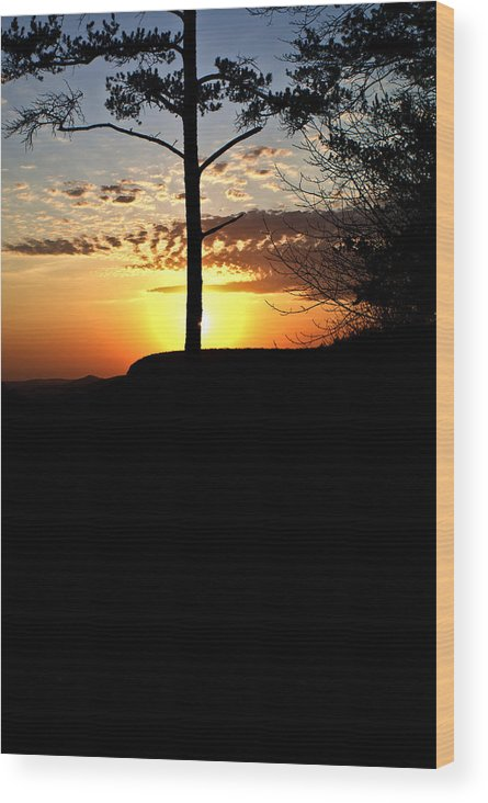 Sunburst Wood Print featuring the photograph Sunburst Sunset by Douglas Barnett