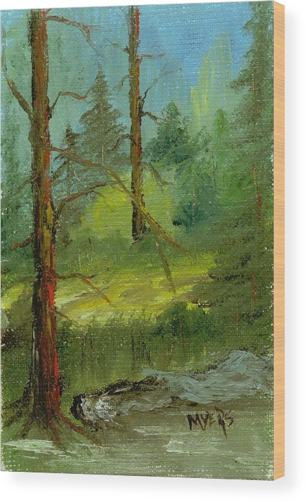 Trees Wood Print featuring the painting Sunshine Amidst The Trees By The Stream by Rhonda Myers