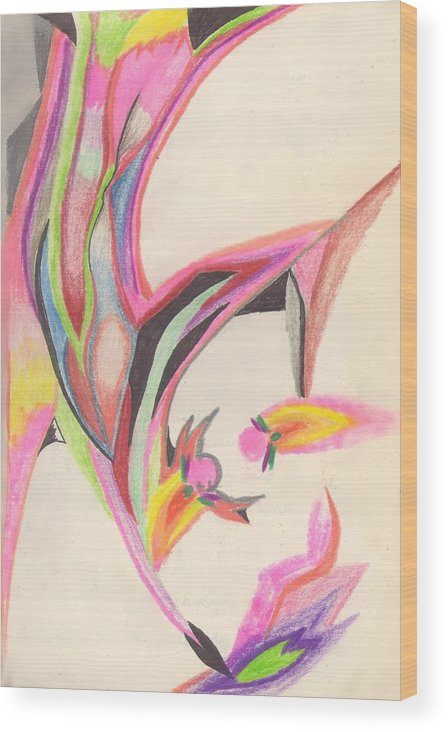 Abstract Wood Print featuring the drawing Sweet Spring by Peter Shor