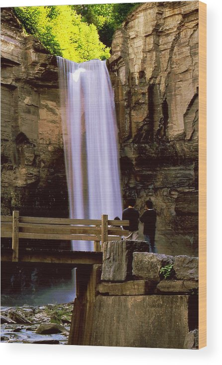 Waterfall Wood Print featuring the photograph Taughannock Falls by Roger Soule