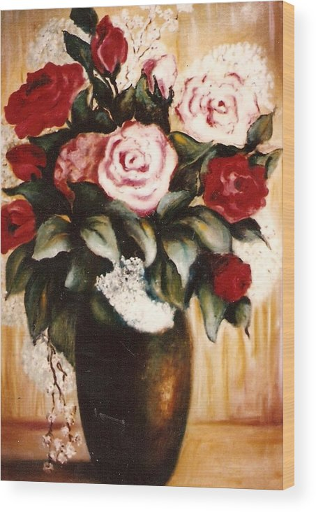 Floral Artwork Wood Print featuring the painting Ted's Flowers by Jordana Sands