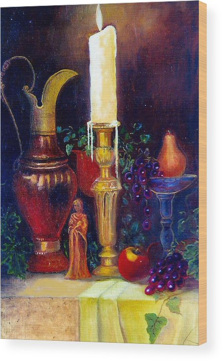 Still Life Wood Print featuring the painting The Candlestick And Pitcher by Jeanene Stein