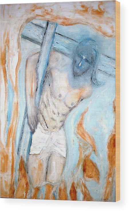 Cross Wood Print featuring the painting The Cross by Narayanan Ramachandran
