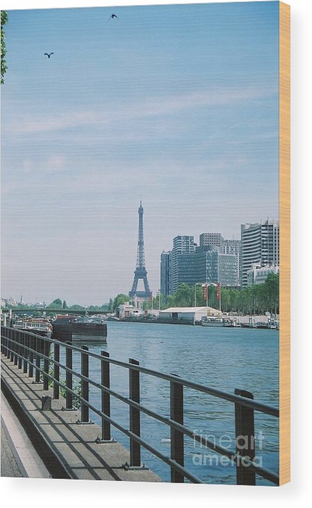 The Eiffel Tower Wood Print featuring the photograph The Eiffel Tower And The Seine River by Nadine Rippelmeyer