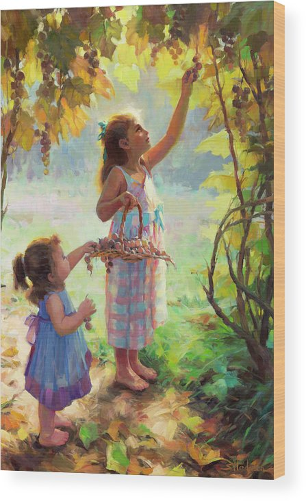 Vineyard Wood Print featuring the painting The Harvesters by Steve Henderson
