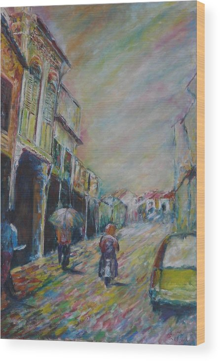 People Wood Print featuring the painting The Malacca Street by Wendy Chua