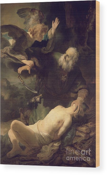 Rembrandt Wood Print featuring the painting The Sacrifice Of Abraham by Rembrandt