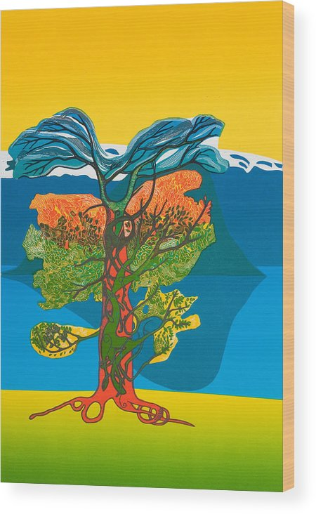 Landscape Wood Print featuring the mixed media The Tree Of Life. From The Viking Saga. by Jarle Rosseland